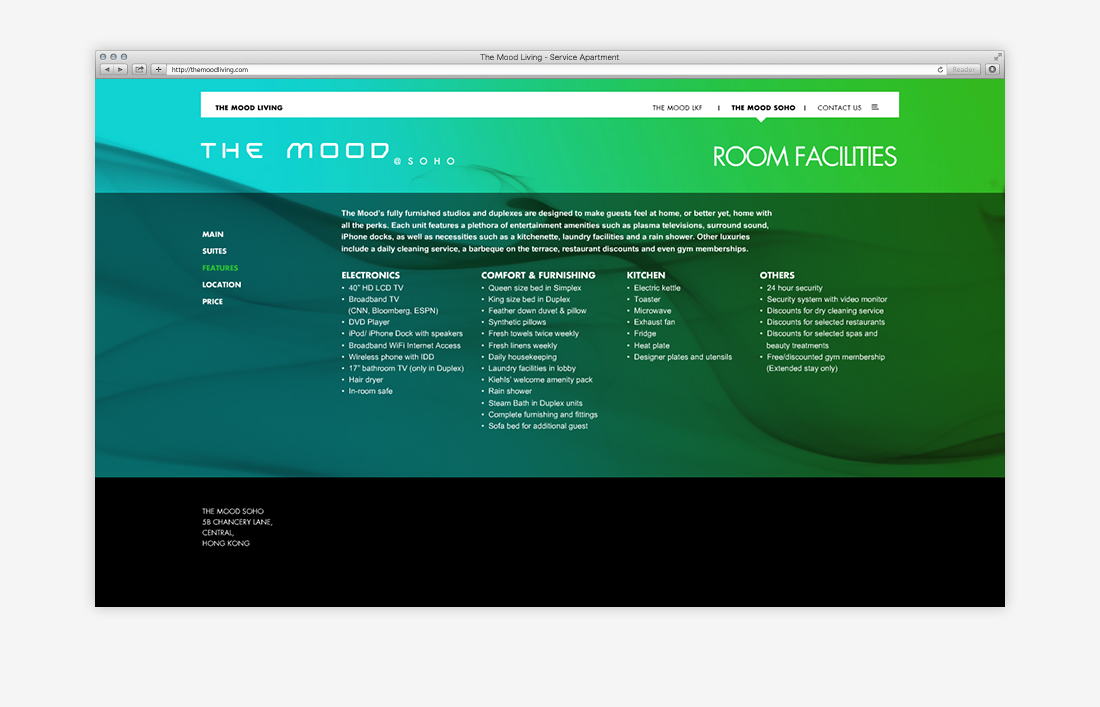 The Mood Living Serviced Apartments Website - FirmStudio